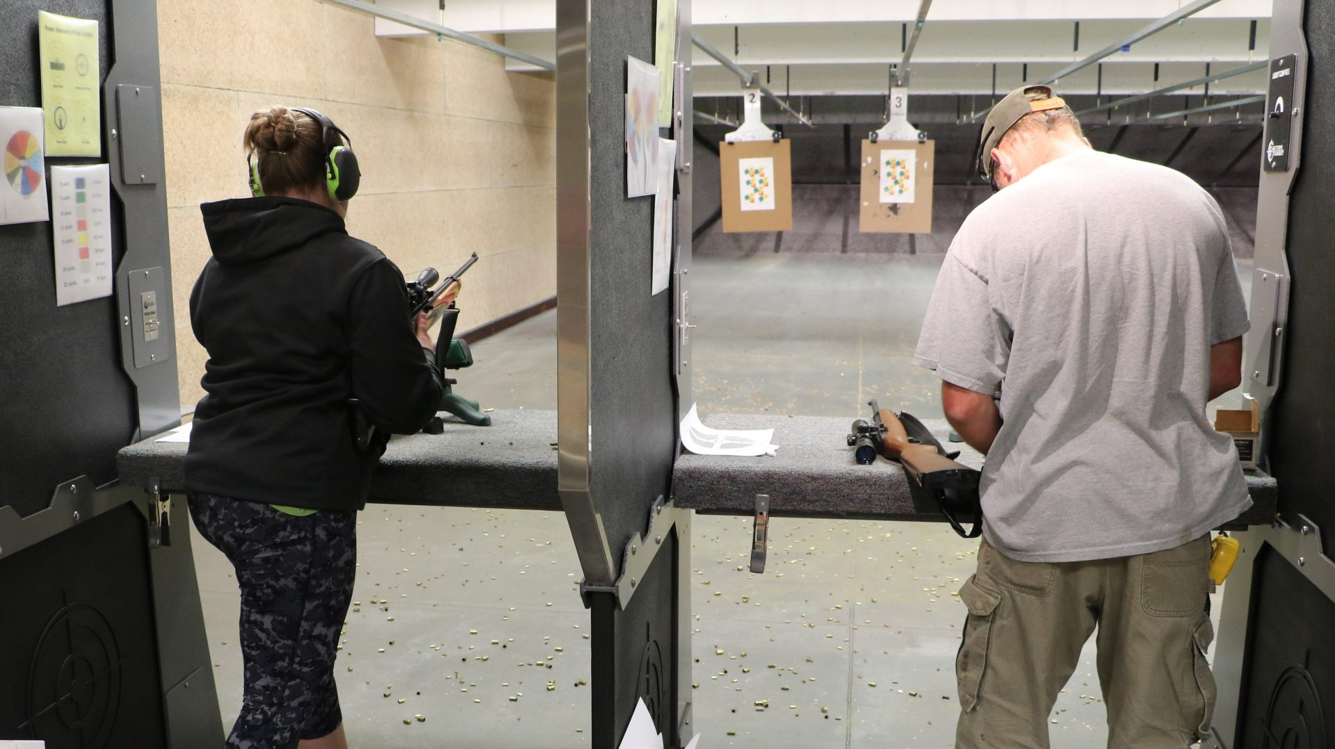 shooting rifles on the indoor range